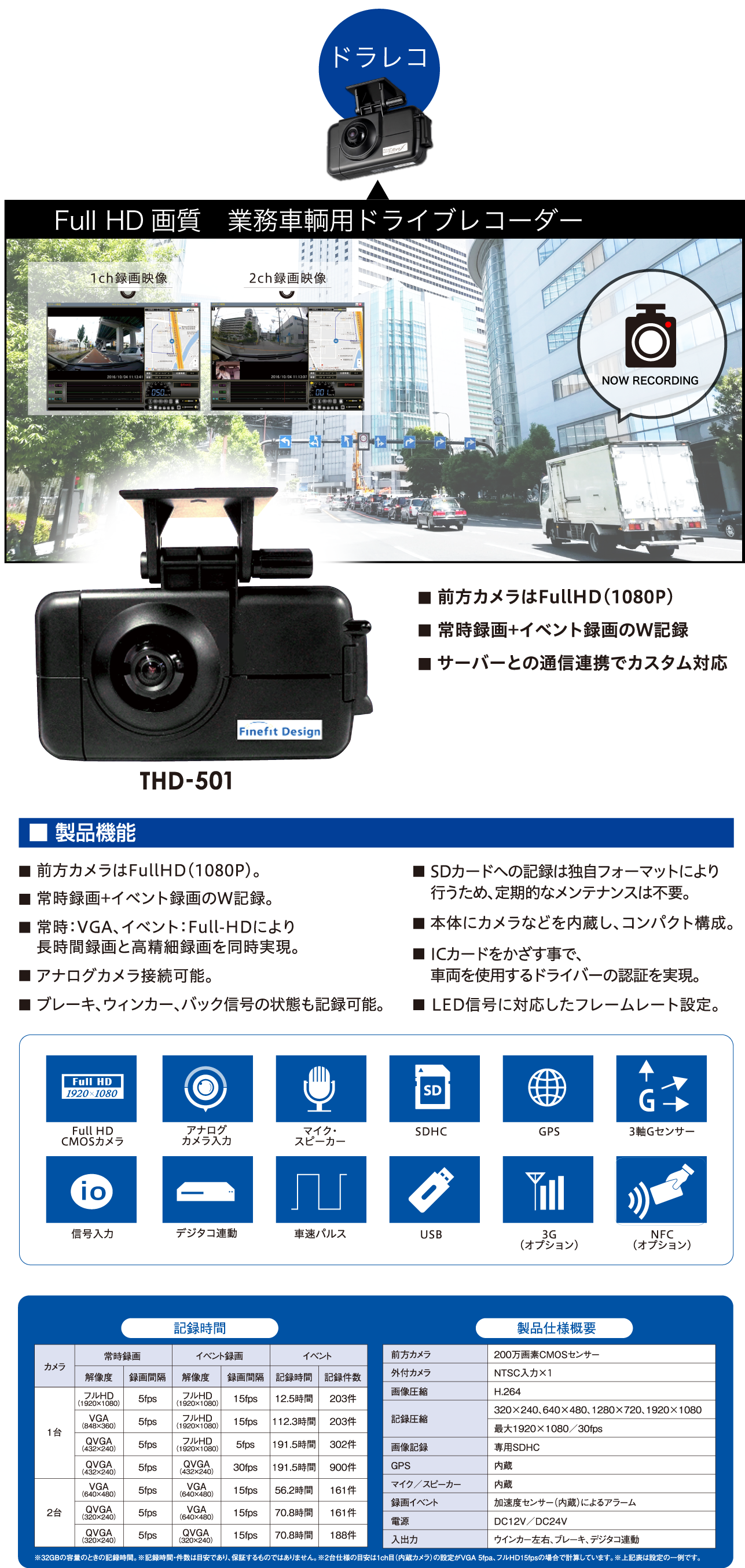 Full HD画質 業務車輌用ドライブレコーダー
